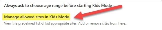 Manage Allowed Sites in Kids Mode