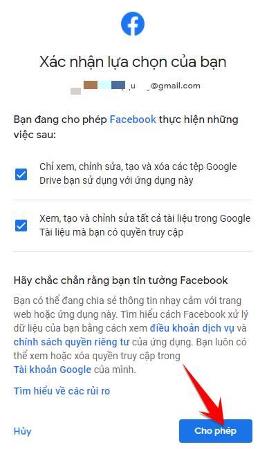 cho phep fb copy len google