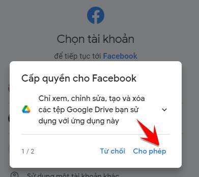 cho phep sao luu facebook len google