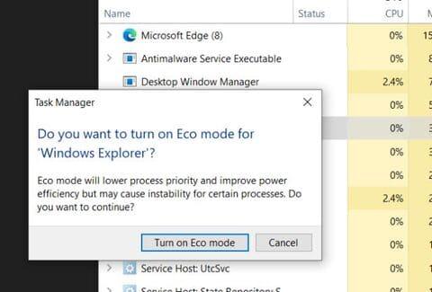 Turn on Eco mode