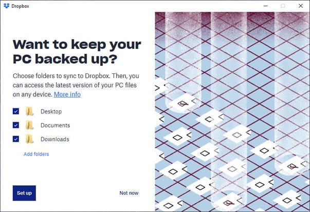 Windows 10tự động sao lưu vào tài khoản Dropbox