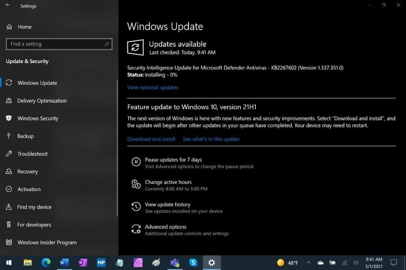 Feature update to Windows 10, version 21H1