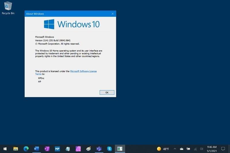 cài Windows 10 phiên bản 21H1