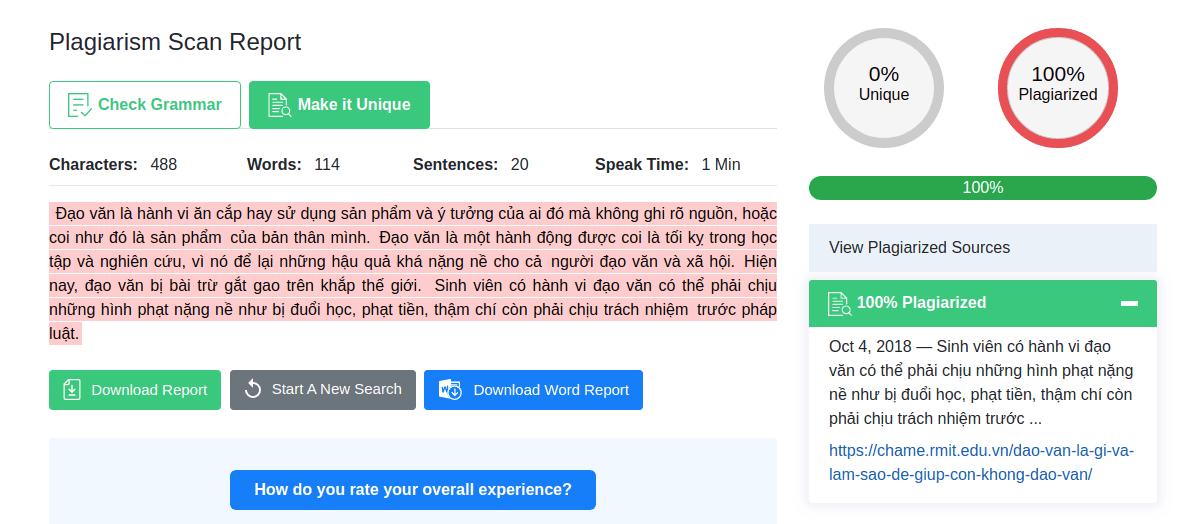 plagiarismdetector.net check content uniqe tạo luận văn