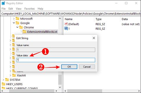 chặn cài extension bằng registry