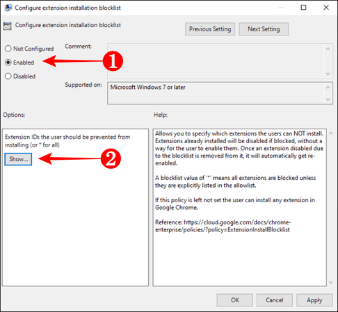 Configure extension installation blocklist