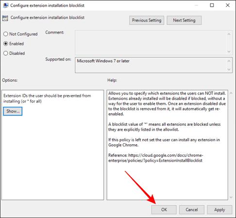đóng Configure extension installation blocklist