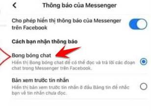 bật bong bóng chat facebook iphone
