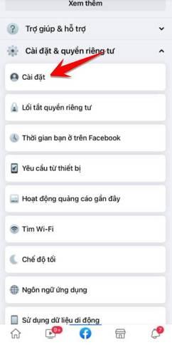 menu cài đặt fb bong bóng chat