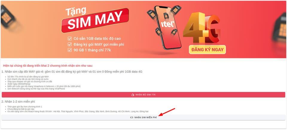 Cách nhận 2 sim 4G ITelecom miễn phí 5