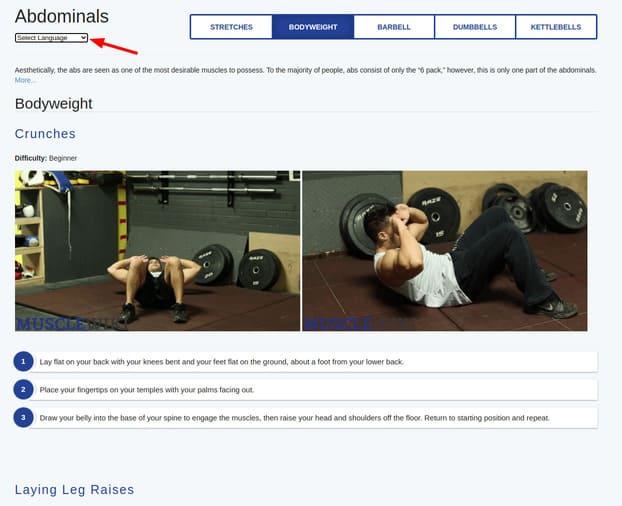 website hướng dẫn tập gym MuscleWiki