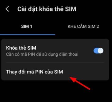 Thay đổi mã PIN của SIM