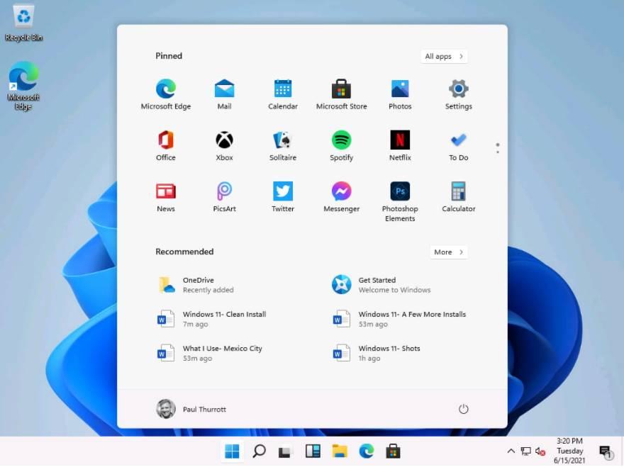 giao diện mới của hệ điều hành Windows 11 với các góc bo tròn
