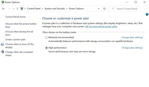 System and Security > Power Options