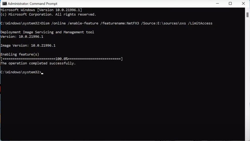 Dism /online /enable-feature /featurename:NetFX3 /Source:(drive letter):\sources\sxs /LimitAccess