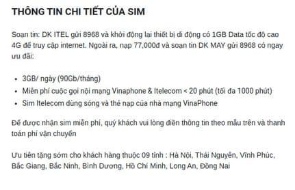 Cách nhận 2 sim 4G ITelecom miễn phí 8
