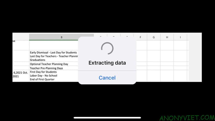 Cách chèn dữ liệu từ ảnh trong Microsoft Excel trên điện thoại