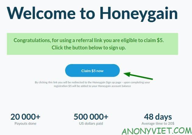 Cách đăng ký Honeygain và nhận ngay $5