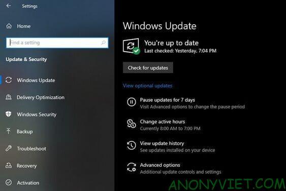 Chạy Windows Update và cấu hình cài đặt cập nhật
