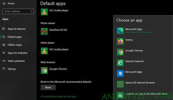 Thay đổi cài đặt Windows mặc định
