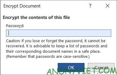 Bảo vệ tài liệu bằng Password