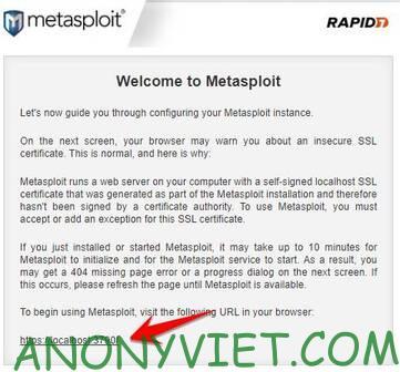 dang nhap Metasploit Pro