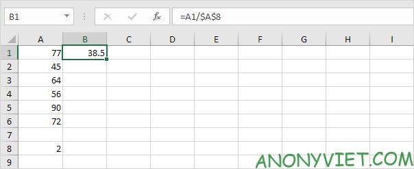 Phép chia với 1 số cố định Excel