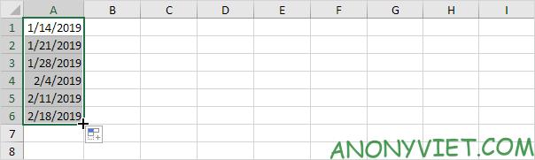 AutoFill ngày có quy tắc Excel