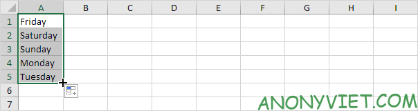 Autofill ngày trong tuần Excel