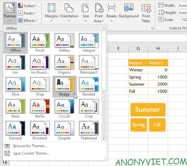 Bài 27: Cách sử dụng Themes trong Excel 34