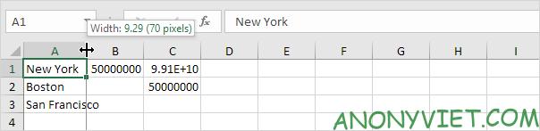 Chỉnh chiều dài thủ công Excel