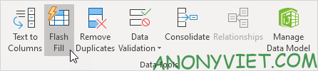 Chọn Flash Fill Excel