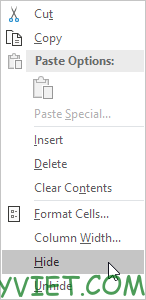Chọn hide Excel