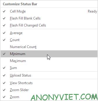 Bài 25: Cách sử dụng Status Bar trong Excel 59