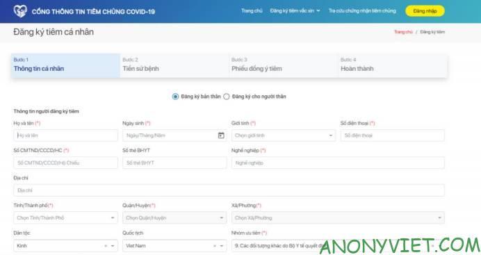Hướng dẫn Đăng ký tiêm vắc xin Covid-19 Online