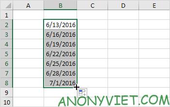Kết quả của fill ngày có quy luật Excel