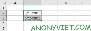 ghi ngày vào 2 ô B2 và B3 Excel