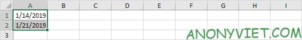 Nhập ngày vào ô A1 và ô A2 Excel A2
