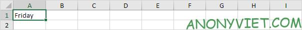 Ghi Friday vào ô A1 Excel