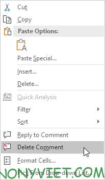 Xóa Comment Excel