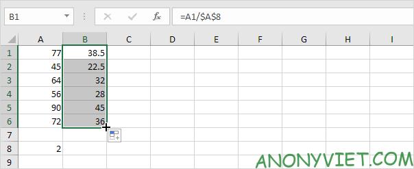 Kết quả Phép chia với 1 số cố định Excel