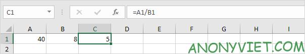 Phép chia với 2 Khoảng Excel