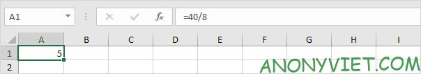 Phép chia thông thường Excel
