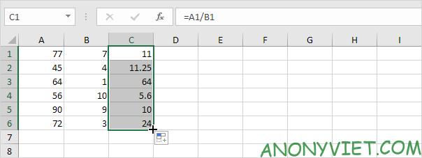 AutoFill cho phép chia Excel