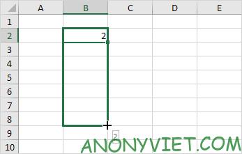 Kéo xuống ô B8 Excel