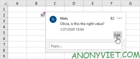 Chỉnh sửa comment Excel