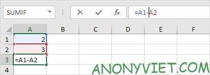Thay đổi công thức Excel