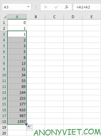 Dãy số Fibonacci trong Excel