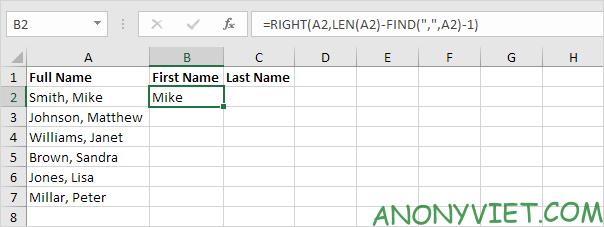 Công thức lọc tên Excel