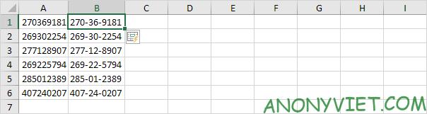 Kết quả FlashFill Excel